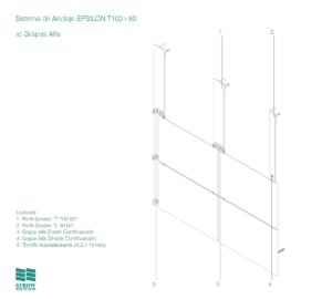 Anclaje Epsilon T100x60 – Esquema de montaje - Grapas Alfa