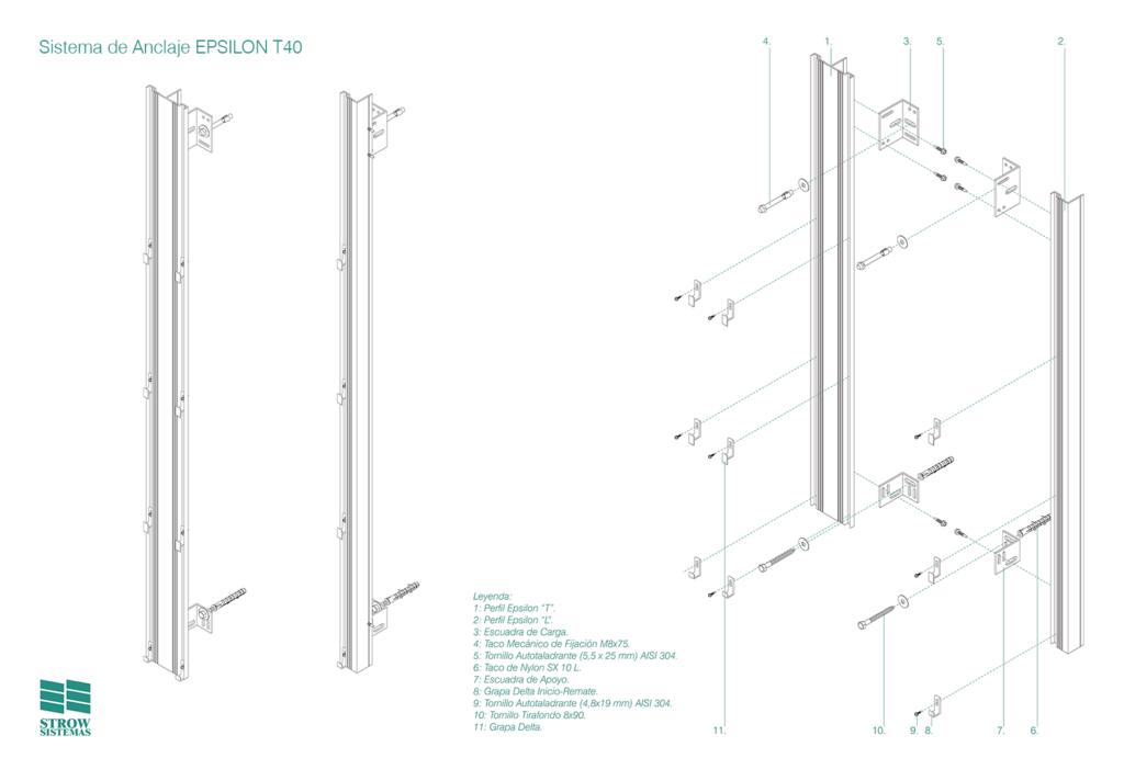 Sistema de Anclaje Epsilon T40 – Esquema de montaje general y partes