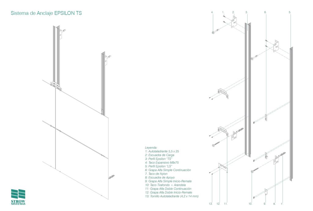 Anclaje Epsilon TS - Esquema de montaje general y partes