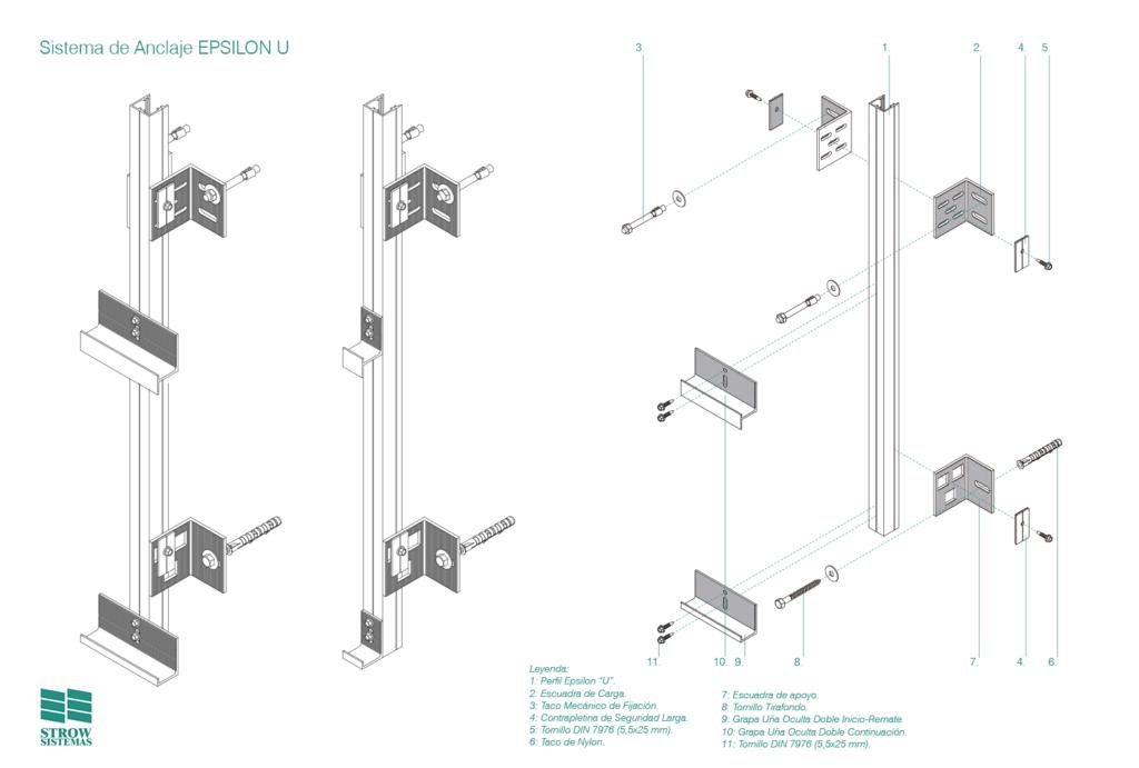 Sistema de Anclaje Epsilon U – Esquema de montaje general y partes