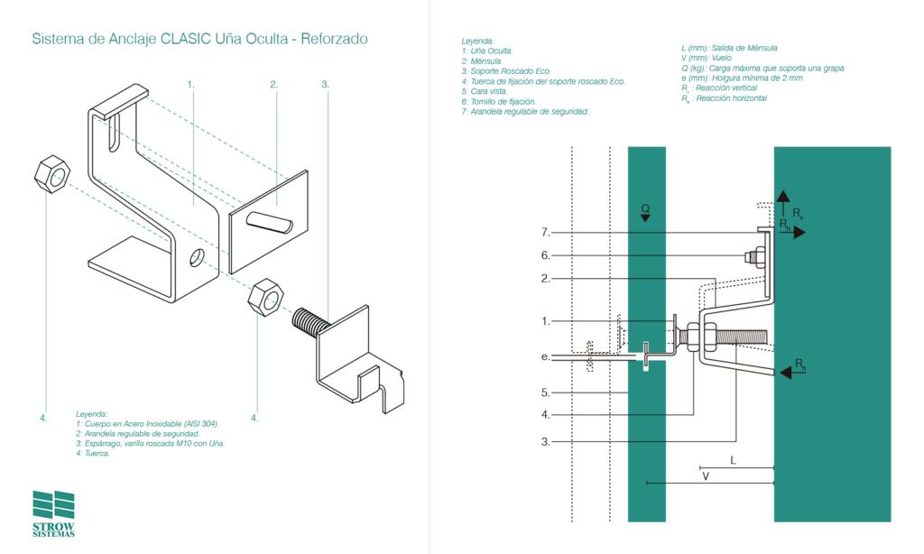 Sistema de Anclaje CLASIC Uña Oculta Reforzado – Esquema de montaje